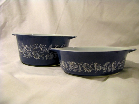 Blue Pyrex Colonial Mist Casserole Dishes