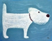 Westie dog print - Professional Giclee print - fine art print - A4 print - West Highland Terrier - Blue white dog print