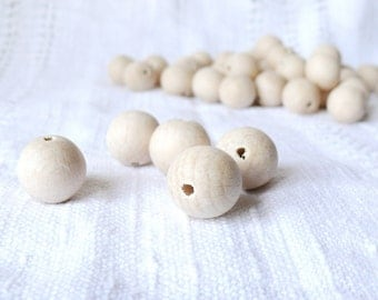 20 mm Wooden beads 50 pcs - natural eco friendly r20mm