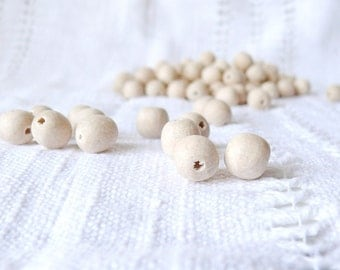 11 mm natural wooden beads 50 pcs - eco friendly