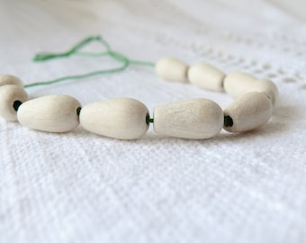 16 mm natural wooden drop beads 10 pcs - eco friendly