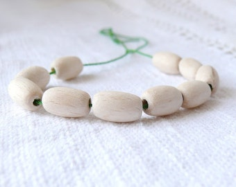 8x15 mm Unfinished wooden oval beads 10 pcs - eco friendly