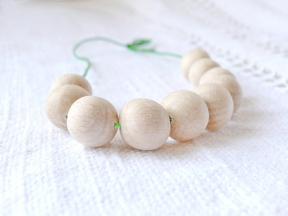 13 mm Natural wooden beads 10 pcs - eco friendly r13mm