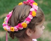 Flower Girl head wreath in Pinks and Gold