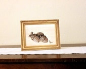 Still life oil painting, 5x7 on canvas panel, acorns, wall art, for home, brown, cream, nature, realism, modern