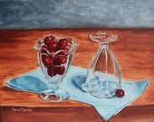 Glasses with cherries, still life oil painting, still life art, 11x14 stretched canvas, red cherries, wall art, for home, realism, modern