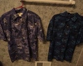 Two Vintage Blue Hawaiian-Style Button-Up Shirts