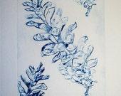 Dry Point  Collograph Print in Intaglio in Blue