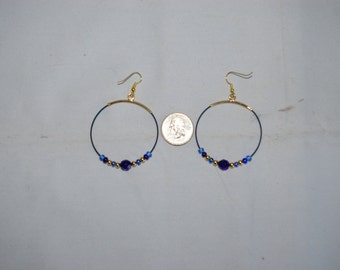 Blue Hoop Earrings - 0475