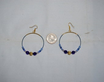 Blue Hoop Earrings - 0476