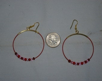 Red Hoop Earrings - 0484