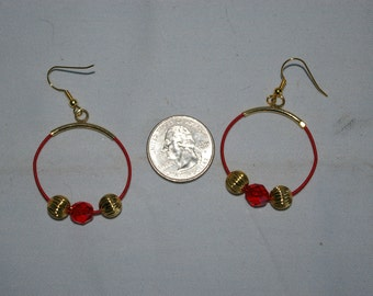 Red Hoop Earrings - 0485
