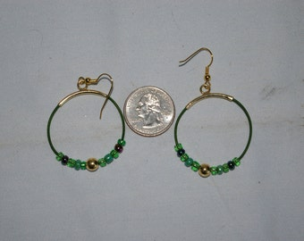 Green Hoop Earrings - 0488