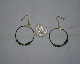 Green Hoop Earrings - 0491
