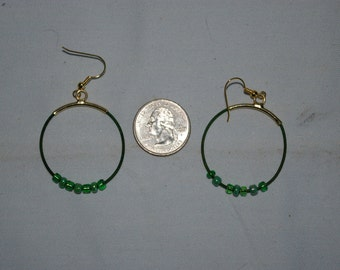 Green Hoop Earrings - 0492