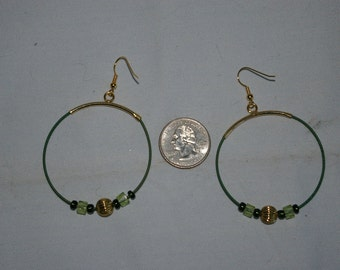 Green Hoop Earrings - 0494