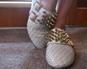 Gold Spiked / Studded Leather Flats Shoes