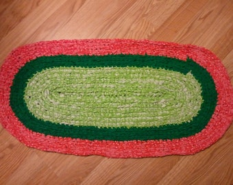 Handmade Farmhouse Braided Rag Rug or Table Runner- Upcycled vintage fabric in watermelon red, bright green, and lime green. Country Chic