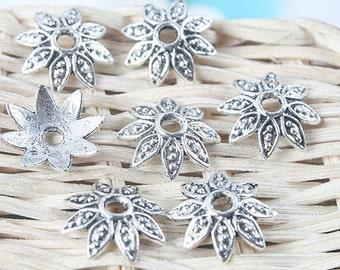 80pcs antiqued silver flower bead caps G1224