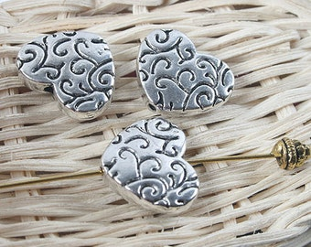 10pcs antiqued silver two sides heart shape spacer beads G1238
