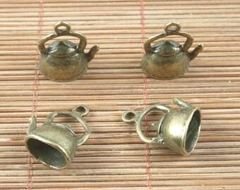 12pcs antiqued bronze teapot design pendant h5051