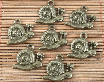 30pcs antiqued bronze snail design pendant G1511