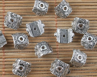 66pcs antiqued silver pattern bead caps G1663