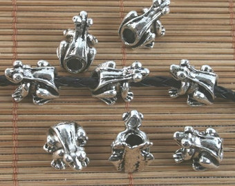 15pcs antiqued silver frog spacer beads G1620