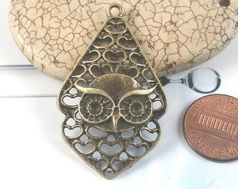 6pcs antiqued bronze owl pendant G1677