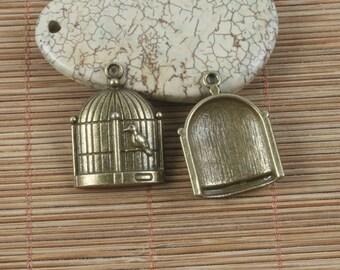 10pcs antiqued bronze bird and bird cage design pendant G1696
