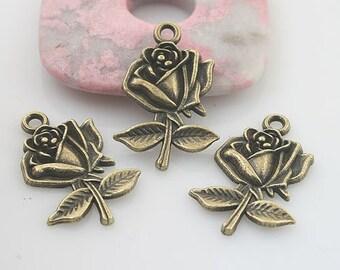 20pcs antiqued bronze color flower pendant charm G1736