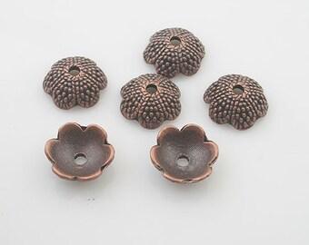 30pcs antiqued copper flower bead cap findings X0028