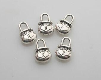25pcs Tibetan Silver heart lock charm pendants X0062