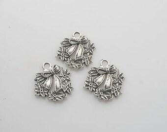 10pcs Tibetan Silver bowknot flower charm pendants X0094