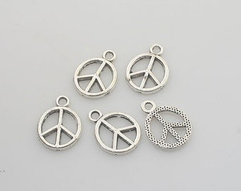80pcs Tibetan Silver peace sign charm pendants X0135
