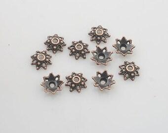 200pcs antiqued copper flower bead cap findings X0214