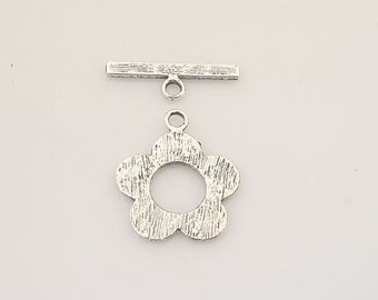 20sets Tibetan Silver flower toggle clasps X0222