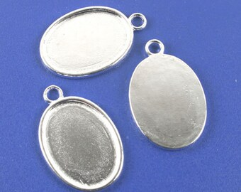 10pcs silver tone oval cabochon settings/photo frame G1109