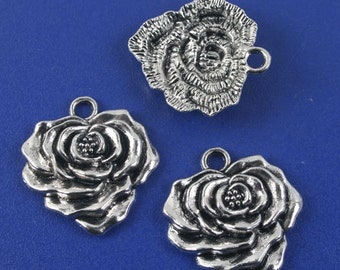 16pcs antiqued silver flower pendant charm G1110