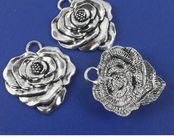 8pcs antiqued silver big flower design pendant G1111