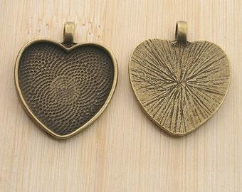 10pcs antiqued bronze color heart shaped pendant charm settings G1953