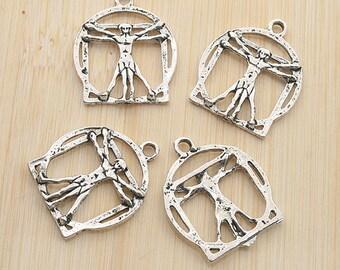 22pcs antiqued silver color 2persons design pendant charm G1962
