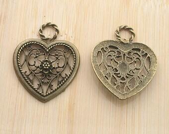 10pcs antiqued bronze color heart shaped flower pendant charm G1964