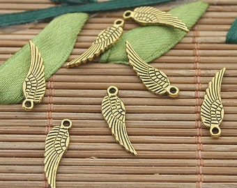 80pcs dark gold tone wings charms h3013