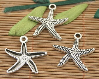 30pcs dark silver tone starfish charms h3016