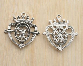 10pcs antiqued silver color heart shaped frame cabochon settings G1975