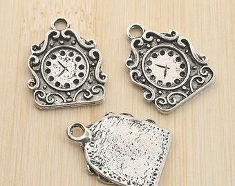 10pcs antiqued silver color clock design pendant charm G1983