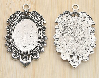 8pcs antiqued silver color rim picture frame cabochon settings G1984