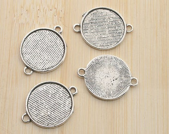 22pcs antiqued silver color round cabochon settings link charm G1988