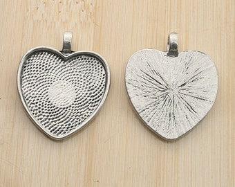 10pcs antiqued silver color heart shaped pendant charm settings G1989